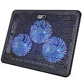 AUKEY Base di Raffreddamento Notebook, Supporto per PC con 3VentoleSilenziose a Luce LED e Cavo USB di 2 Porte per 12'-17' PC, Laptop, Notebook(CP-R1)