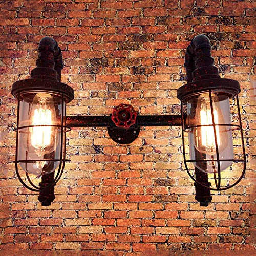 2 Luci-Vintage Stile Edison Steampunk applique da parete in ferro battuto Lampada da parete Piping...