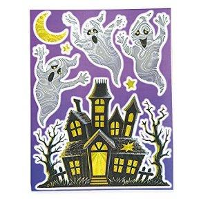 Decoración ventanas calaveras Halloween - Única
