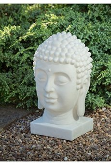 Mármol Efecto energía Solar cabeza de Buda decoración Estatua Figura decorativa luz