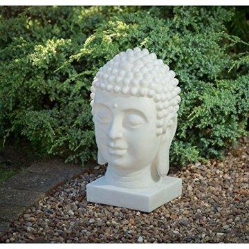 Mármol Efecto energía Solar cabeza de Buda decoración Estatua Figura decorativa luz 3