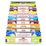 Satya - Set de inciensos de 12 x 15 g que incluye Nag Champa, Super Hit, Om Shanti, Oodh, Positive...