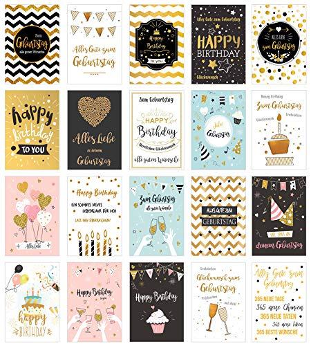 Edition Seidel Set exklusive Premium Geburtstagskarten mit Briefumschlag. Glückwunschkarte Grusskarte Geburtstag Geburtstagskarte Mann Frau Karten Happy Birthday Billet Sprüche