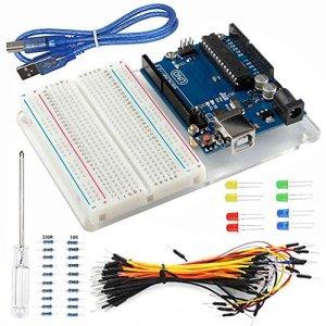 61eaebgSXFL - Smraza para Arduino Uno R3 Starter Kit con Breadboard, Cables de Puente, Cable USB, Leds y Base Acrílica Compatible con Placa Arduino UNO Mega2560 Mega328 Nano