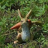 IFEVER - Mini Figura de Conejo de Resina para jardín, macetas bonsái, Miniatura, Figura de Paisaje, with Carrot
