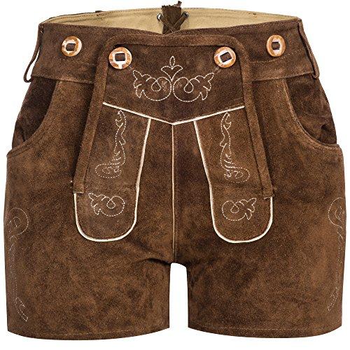 Gaudi-Leathers Damen Trachten Lederhose Shorts kurz mit Träger in Braun (Hellbraun 040), W33 (Herstellergröße: 36)