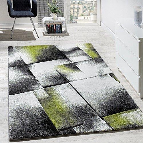Paco Home Tappeto di Design A Quadri Soggiorno Colori Verde Grigio Nero Crema, Dimensione:60x100 cm