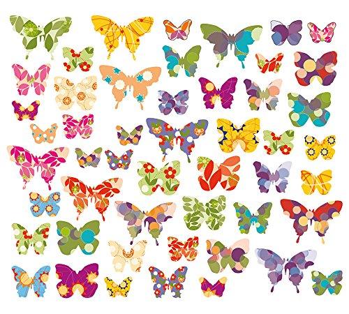 50x para pared, ventanas pegatinas, imágenes Mariposas, windowsticker, mariposas, Tatuajes, adhesivo para azulejos, 50vinilos, en una superficie total de 101,5x 21cm
