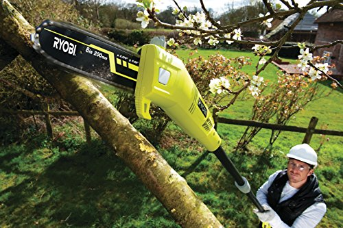 From the bright colour, the Ryobi RPP750S Pole Pruner is hard to miss and what a machine this is. This distinctive hyper green pruner comes with a 750w motor that drives the 20cm saw blade, now the blade not too large but as chainsaws are dangerous, especially in untrained hands, this only makes it safer and keep weight to a minimum.
