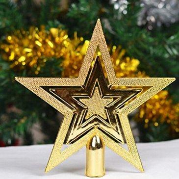 Oshide Paillettes d'or étoiles Arbre de Noël Topper Ornements Décorations de Noël