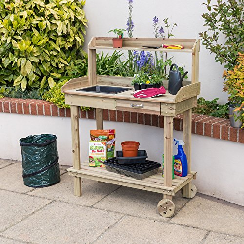 The Christow Wooden Potting Table is perfect for potting plants and flowers for your garden. It comes flat-packed with all fixings and instructions for easy home assembly. The assembled table measures 120cm H x 90cm W x 42cm D, which is quite compact for patios, decking, and gardens of all shapes and sizes.