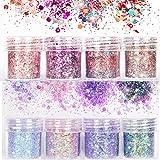 Set di polvere glitter per unghie, lustrini 3D per manicure, nail art, ricostruzione unghie, make up, 8 colori assortiti