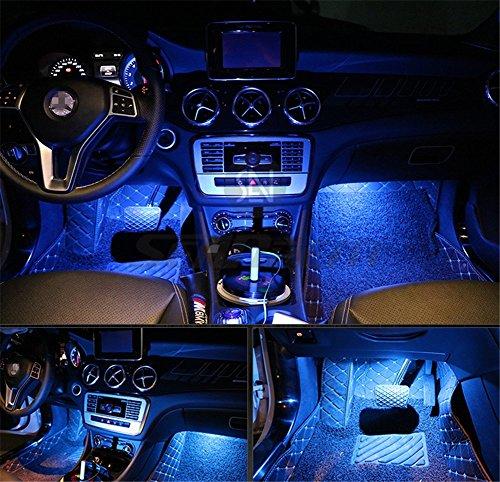 Kit di 4 luci LED per interni d'auto da posizionare sotto il cruscotto, con adesivo 3M, luci...