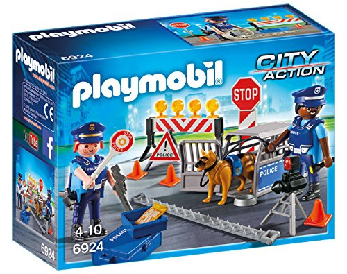 Playmobil Policía- Police Roadblock Playset, (6924)