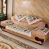 Sofá de funda antideslizante,Sofá de tela de algodón de vintage cuero sofá amortiguador cubre cuatro estaciones sofá universal sistema de muebles protector para 1 2 3 4 cojines sofá-A 110x180cm(43x71inch)
