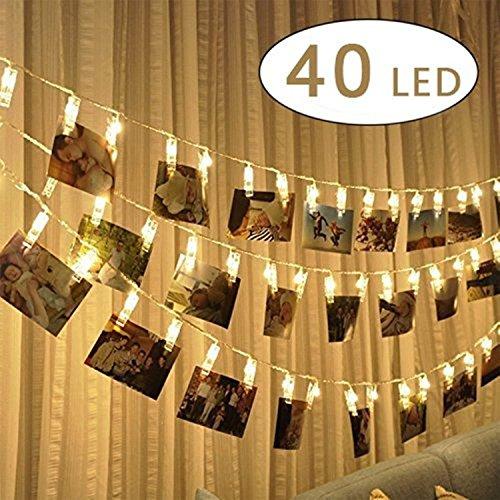 40 LED Foto Clip Stringa Illuminazione, 5m LEDs Foto Clips Mollette,foto clip luci di stringa...