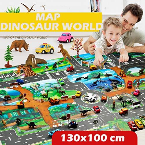 OHQ Juego de niños Comida Dinosaur World Mapa del estacionamiento Juego Mapa Juguetes educativos
