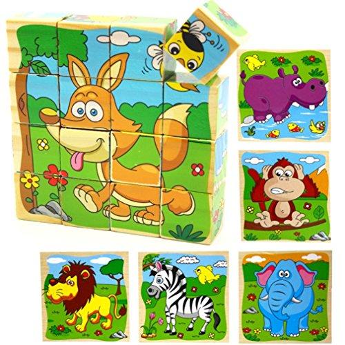 PROW 16 pezzi Puzzle di blocchi di cubo in legno Elefante, scimmia, Leone, ippopotamo, zebra, Fox 6...