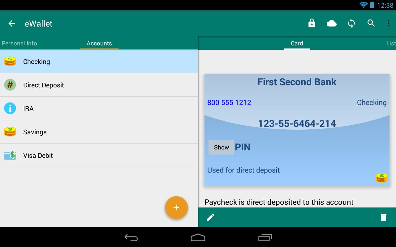 eWallet - Password Manager and Secure Storage Database Wallet Screenshot