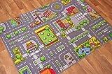 Aldea Alfombra Ciudad Ciudad Carreteras Alfombra de juegos para los niños,, poliamida, Gris, 140 x 200 cm