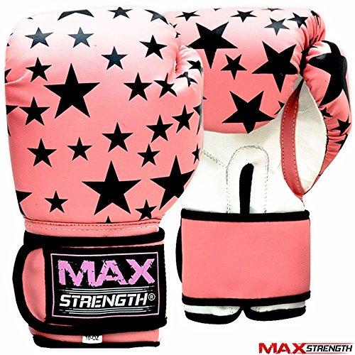Maxstrength,Guantoni da boxe da donna, in pelle Rex, colore: rosa e nero, per Muay Thai, taglia:...