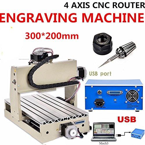 SENDERPICK CNC Router 3020 - Macchina per incisioni, USB, router in PVC, fresatrice portalegna in PVC, CNC Router Kit Engraver Machine 4 assi