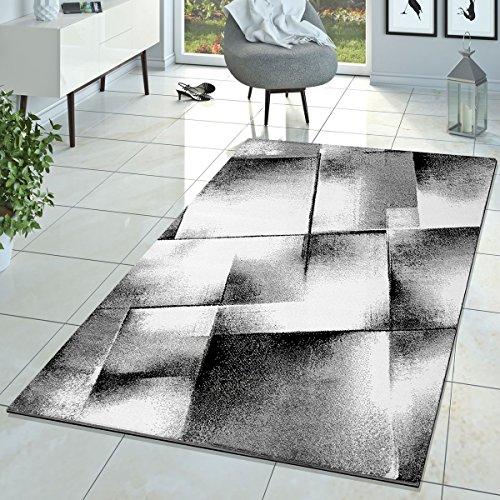 Tappeto Di Design Salotto Moderno Tappeto A Pelo Corto Mélange Grigio Nero Crema, Größe:70x140 cm