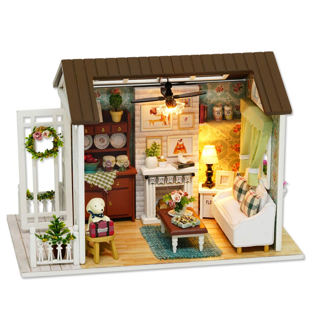 Decdeal Case Delle Bambolefai Da Te In Miniatura Casa Delle Bambole Kitmini 3d Casa In Legno Con Mobili Luci A Led Regalo Di Compleanno Di Natale