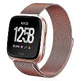 BarRan® Fitbit Versa Cinturino, Loop in Maglia Milanese Acciaio Inossidabile con Chiusura Magnetica Regolabile Bracciale Strap Band per Fitbit Versa Smartwatch