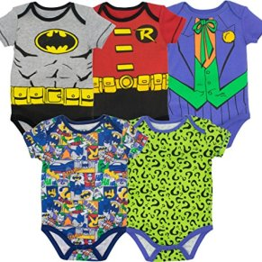 DC Comics Bodies de Superhéroes - Batman, Robin, el Joker y Riddler para Bebé-Niños (Pack de 5)