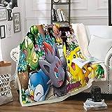 TAGEXZ Mantas para Cama Juego De Pokemon Pikachu Pattern Soft Fleece Throw Blanket Felpa Ropa De Cama Cálida Edredón Sherpa Home Blanket (A) 150 * 200cm