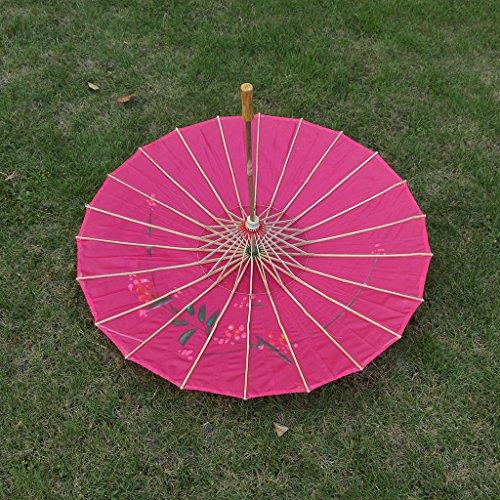 Parasol Umbrella Chinese Japanese Fabric Floral Umbrella Wedding Dance Props - Rose red
