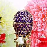 H & D viola Faberge Egg Trinket Jewelry Box uovo di Pasqua