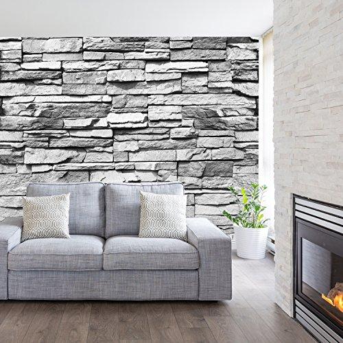 murimage Fototapete Stein 3D 274 x 254 cm Steinwand Schwarz Weiß Weiss Mauer Ziegel Tapete inklusive Kleister