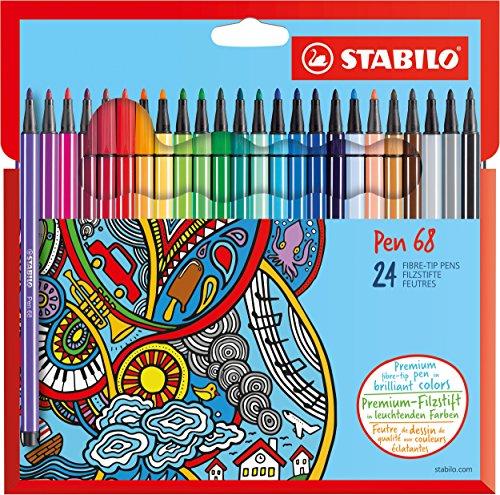 Stabilo 6824-7 Pen 68 Astuccio in Cartone da 24 Pezzi