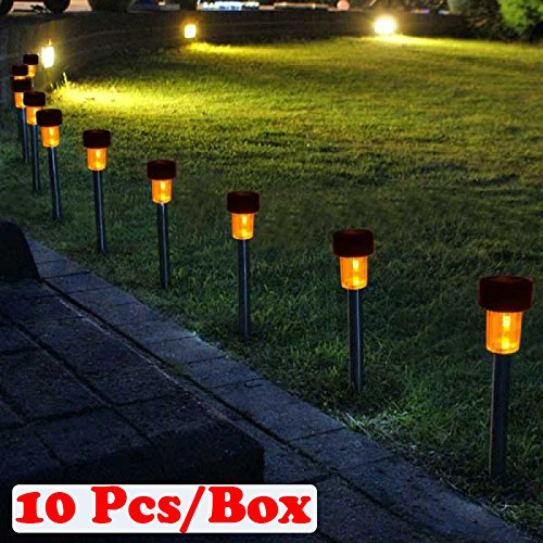 Preyank Solar 10X Solar Light For Path Garden Outdoor Landscape Yard Warm White LED Lamp, Black