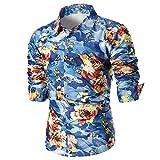 Sunenjoy chemise homme Manche Longue Fleurs Imprimé Coton Shirt Haut Tops Slim Fit Mode Blouse Casual Vacances Basic Business Loisirs Grande Taille M-3XL