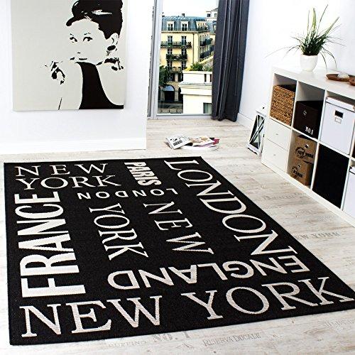 Paco Home Tappeto Modern City Sisal Tessuto Liscio Designer Tappeto Antracite, Dimensione:80x200 cm