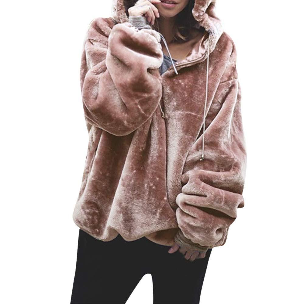HOMEBABY Ladies Winter Hooded Sweater Fluffy Coat for Women Sale Long  Sleeve Chunky Jumper Long Sweatshirt Warm Pullover Tops Blouse aa3c947f7