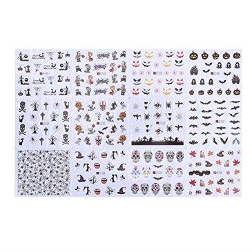 La Cabina 12 Feuilles Manucure Nail Art Décoration Autocollants et Pochoirs Stickers Strass Halloween