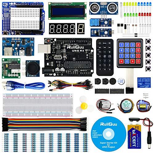 RuiiGuu Arduino Uno R3Starter Kit per Arduino W/Uno R3Scheda di Sviluppo, modalità Tutorial, LCD1602, Membrane Switch, servo, Stepper Motor, DHT11, Ricevitore IR