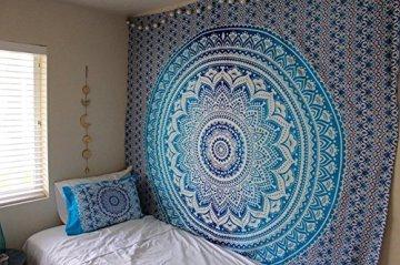 Tapiz Raajsee de regalo de Navidad, azul con degradado y Mándala, tapiz de elefante bohemio, diseño psicodélico para colgar en la pared, tapiz hippie de 220x 240cm 4