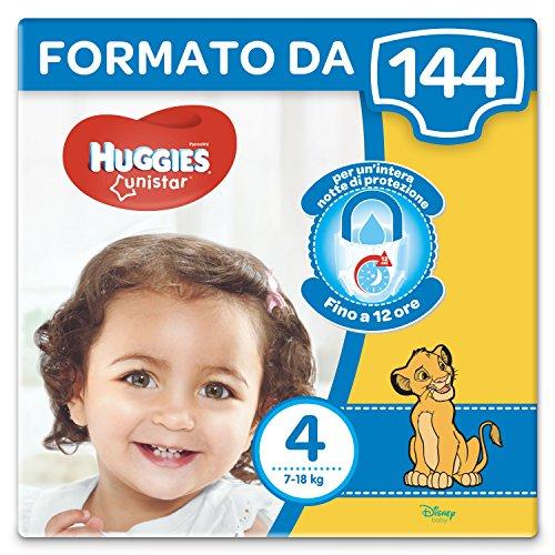 Huggies Unistar Pannolini, Taglia 4 (7-18 kg), Confezione da 144 Pannolini