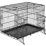 TecTake Cage de Transport pour Chien-Box grillagé | 2 Grandes Portes Équipées de verrous | Pliant - diverses Tailles au Choix (89 x 58 x 65 cm | no. 402295)