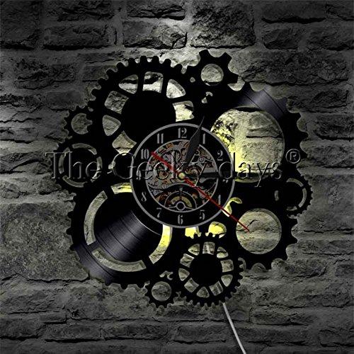 OOFAY Clock@ 3D Orologio Da Parete Disco In Vinile Epidemia Europea LED Meccanico Ingranaggio...