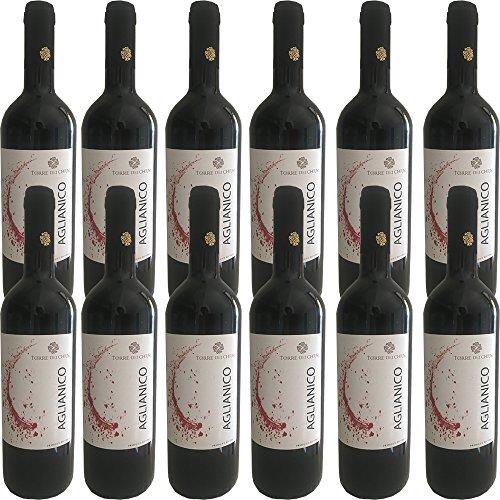Aglianico del Beneventano IGP   Torre dei Chiusi   Confezione da 12 Bottiglie da 75 Cl   Vino Rosso Italiano   Campania