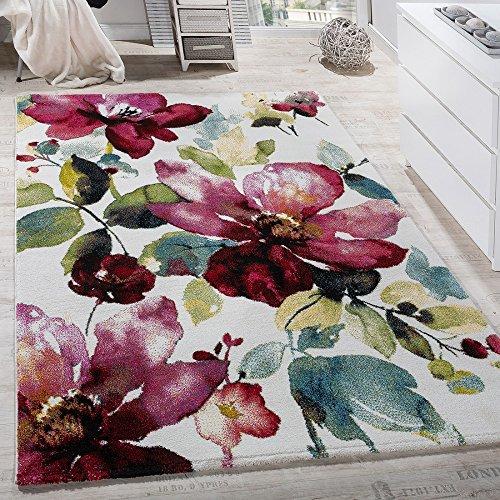 Tappeto Moderno Effetto Quadro Tappeto con Motivo A Fiori Colorato Mix di Colori Multicolore,...