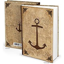 LOGBUCH VERLAG Cuaderno de estilo antiguo vintage de DIN A4 con 136 páginas en blanco y cubierta con un ancla y el mapa del mundo, cuaderno de bitácora estilo medieval con mapa del tesoro, libro de inscripción de caballeros, libro en blanco