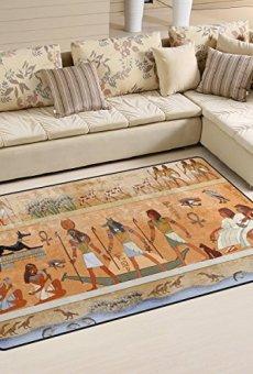 COOSUN Antiguo Egipto Escena área Alfombra Alfombra Alfombra de Suelo Antideslizante Doormats para salón o Dormitorio