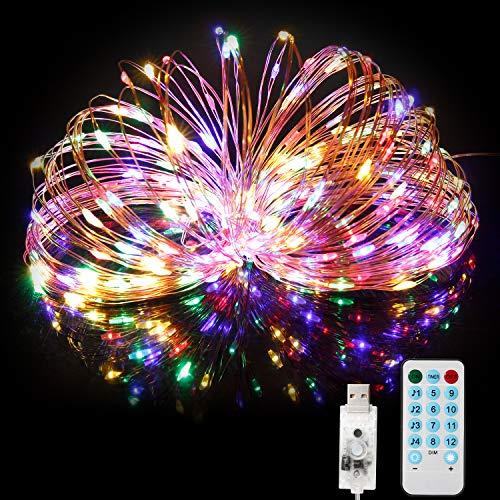 Stringa Luci LED, BITIWEND Catena Luci Decorative 20M 200 LED con Ingresso USB, Filo di Rame Impermeabile IP65 da Esterno con Telecomando Giardino Natale Matrimonio Piscina- Luci Colorate
